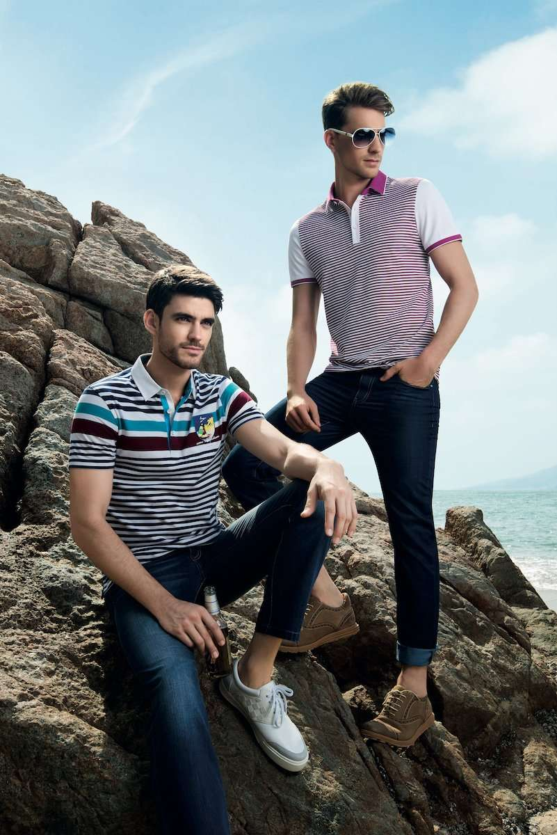 Photograph of two male models on a beach, wearing clothing by AWAN brand, by photographer Lance Lee.